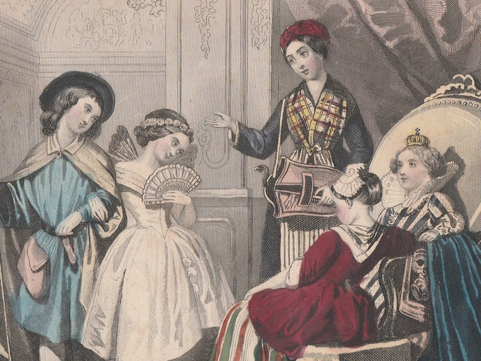 1840s Hand-Colored Fashion Print — Juvenile Fancy Dress Party