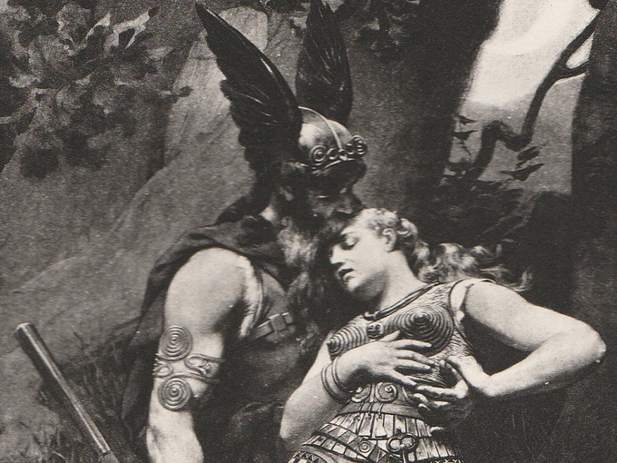 1894 Wotan Takes Leave of Brunhild — Photogravure Process Print