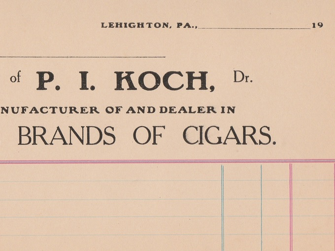 1920s P.I. Koch, Fine Brands of Cigars — Lehighton, PA