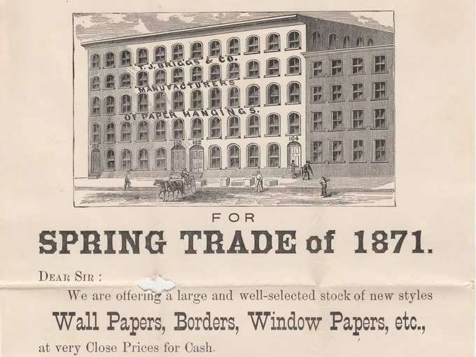 1871 T.J. Briggs & Co., Illustrated Advertising Flyer — New York, N.Y.