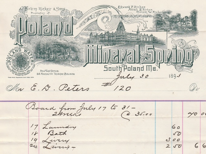 1893 Poland Mineral Springs, Fancy Illustrated Billhead — South Portland, ME.