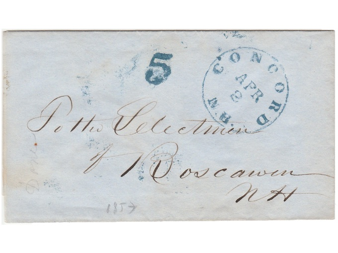 1853 Stampless Cover to The Selectmen of Boscawan, N.H.