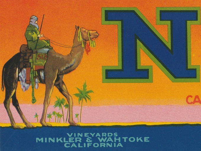 Nile Brand, Vineyards Minkler & Wahtoke, Crate Label — California