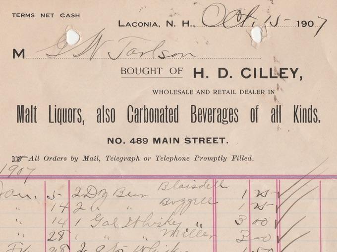 1907 Liquor Receipt, H.D. CILLEY — Laconia, N.H.