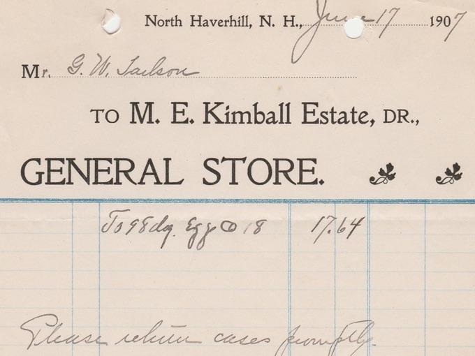 1907 Billhead Receipt from M.E. Kimball Estate, DR. — North Haverhill, N.H.