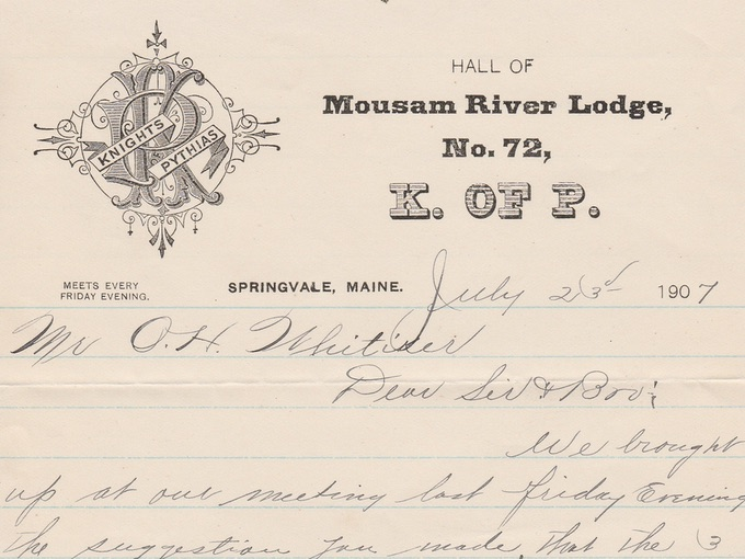 1907 Knights of Pythias, Mousam River Lodge Letter — Springvale, ME