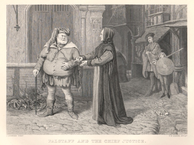 1800s Steel Engraving — Falstaff And The Chief Justice