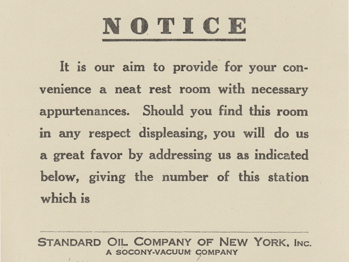 1910s Automotive Station, Restroom Satisfaction Sign