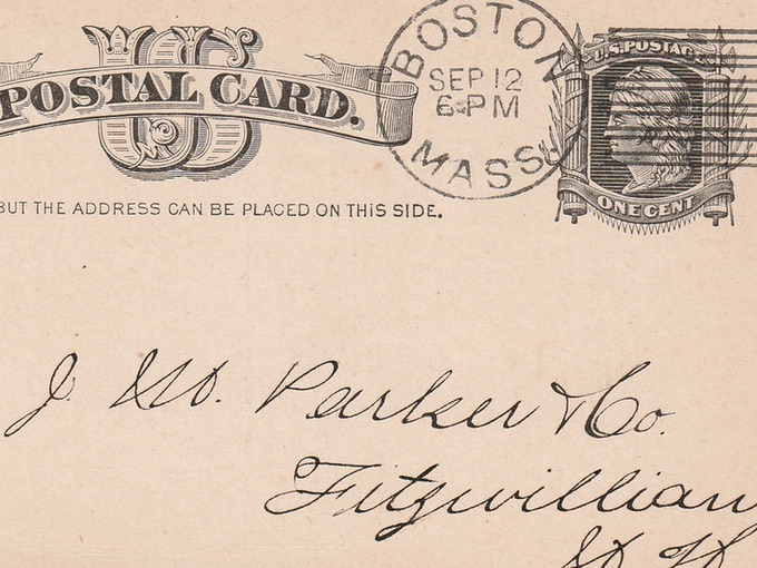 1883 Advertising Postal Cards — Boston to Fitzwilliam, N.H. (Lot of 2)
