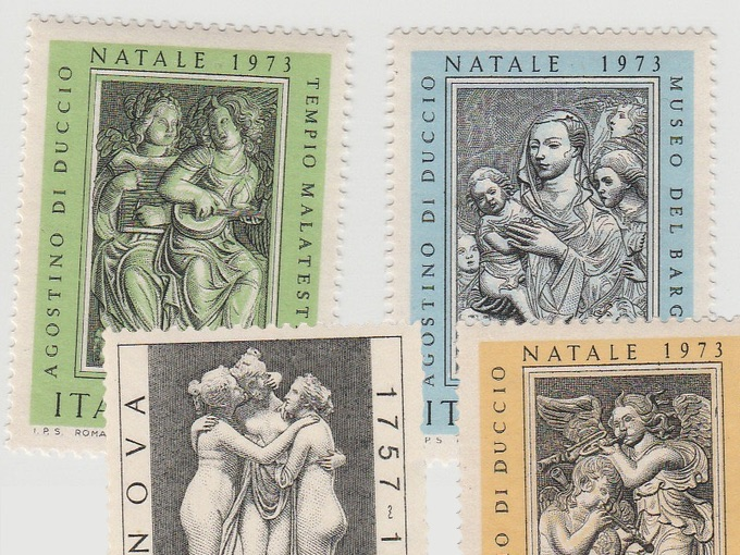 1972-73 Lot of 4 Italian Natale Stamps — Roma, Italy Postage